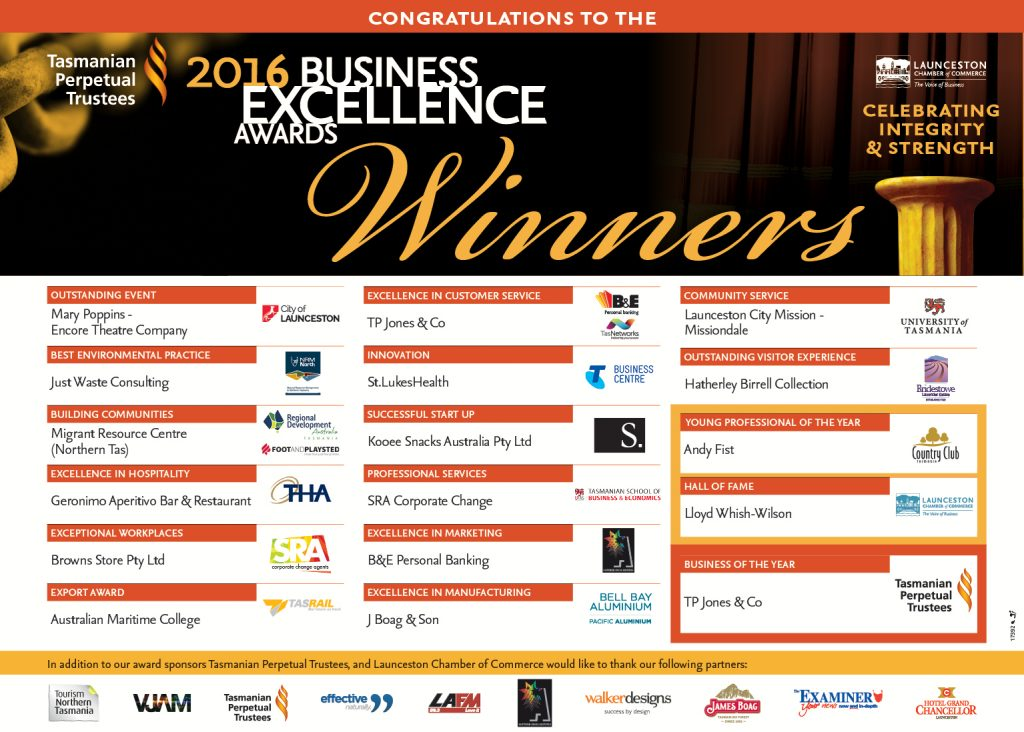 2016 Business Excellence Award Winners